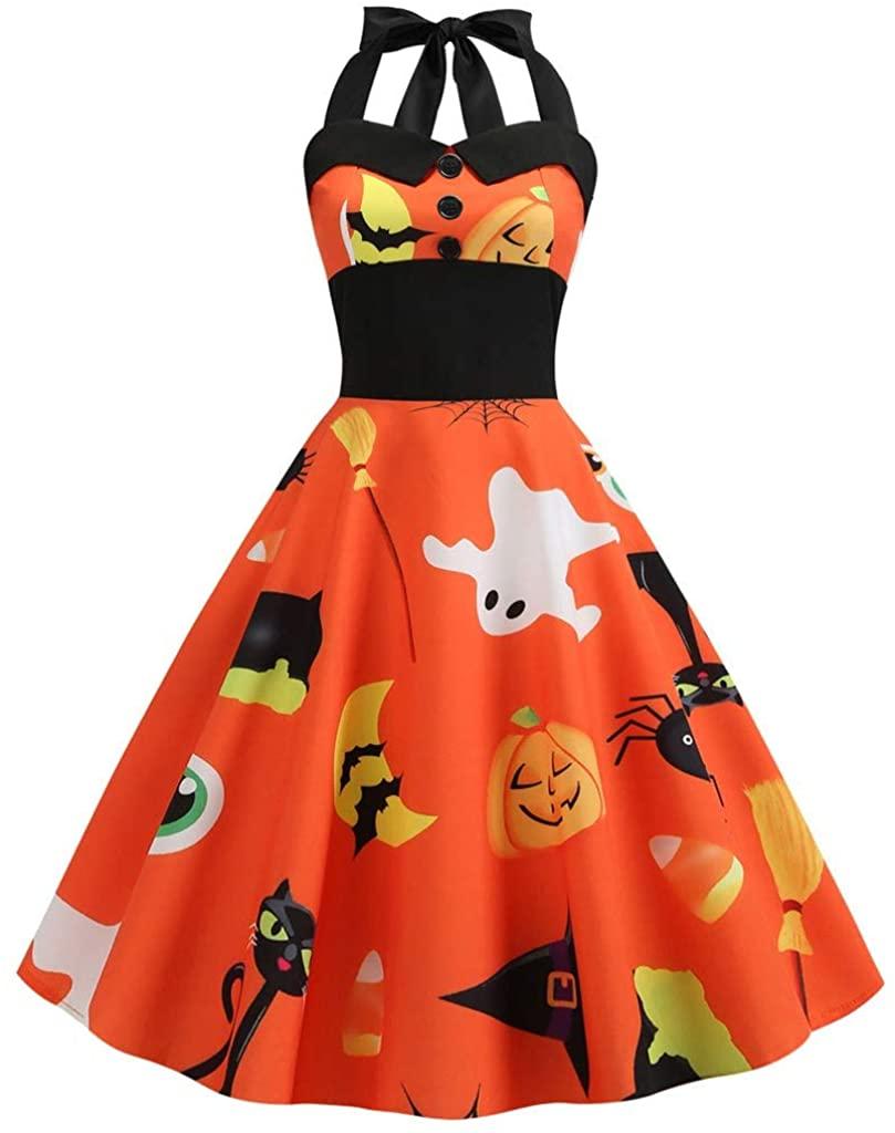 Adeliber Women's Dresses Halloween Retro Sleeveless Hanging Neck 3D Pumpkin Print Party Swing Dress