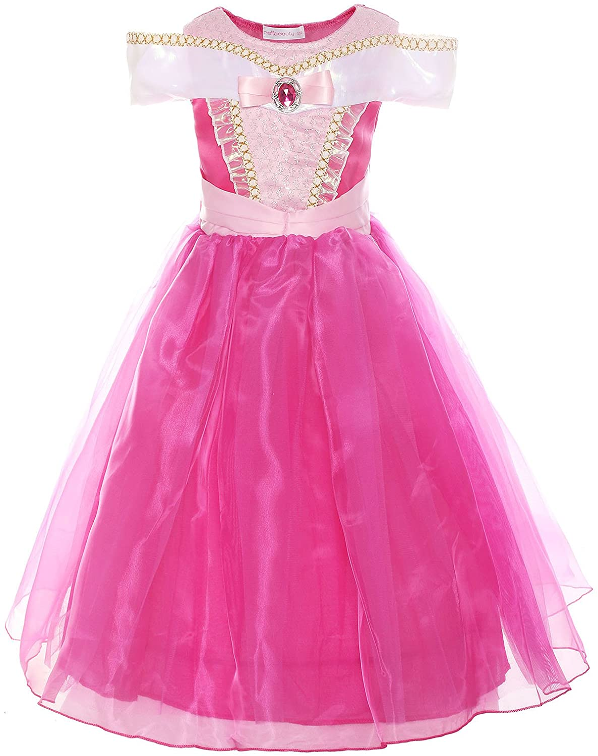 ReliBeauty Girls Drop Shoulder Princess Costume Dress up, Ankle-Length, Hot Pink, 6-6X/130