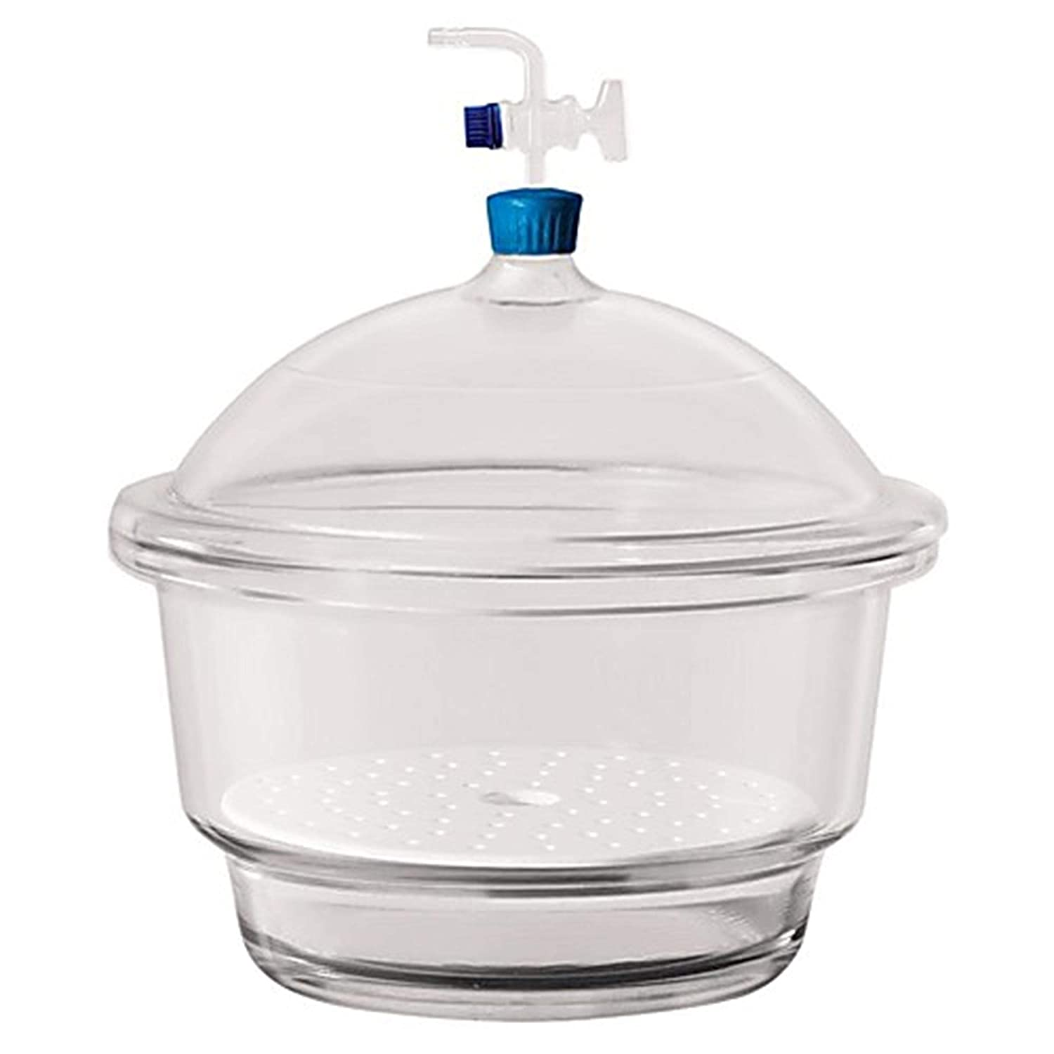 Foxx Life Sciences 3083044 Borosil Borosilicate Glass 3.3 Vacuum Desiccator with Porcelain Plate and PTFE Spindle, 250 mm Ground Flange