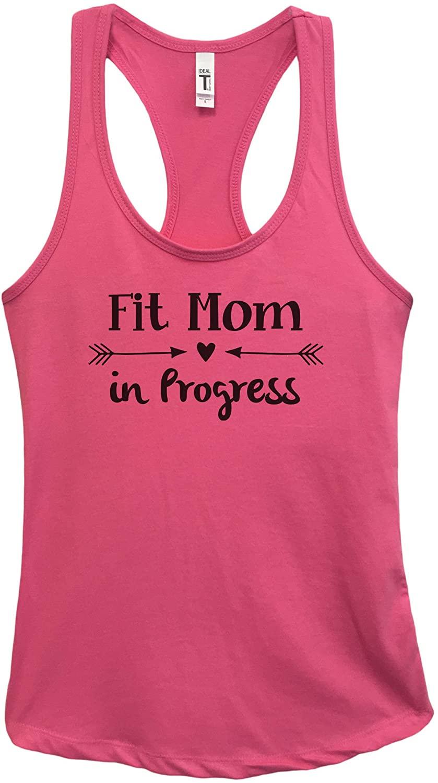Funny Threadz Womens Workout Tank Top Fitness Mom Tank Fit Mom in Progress