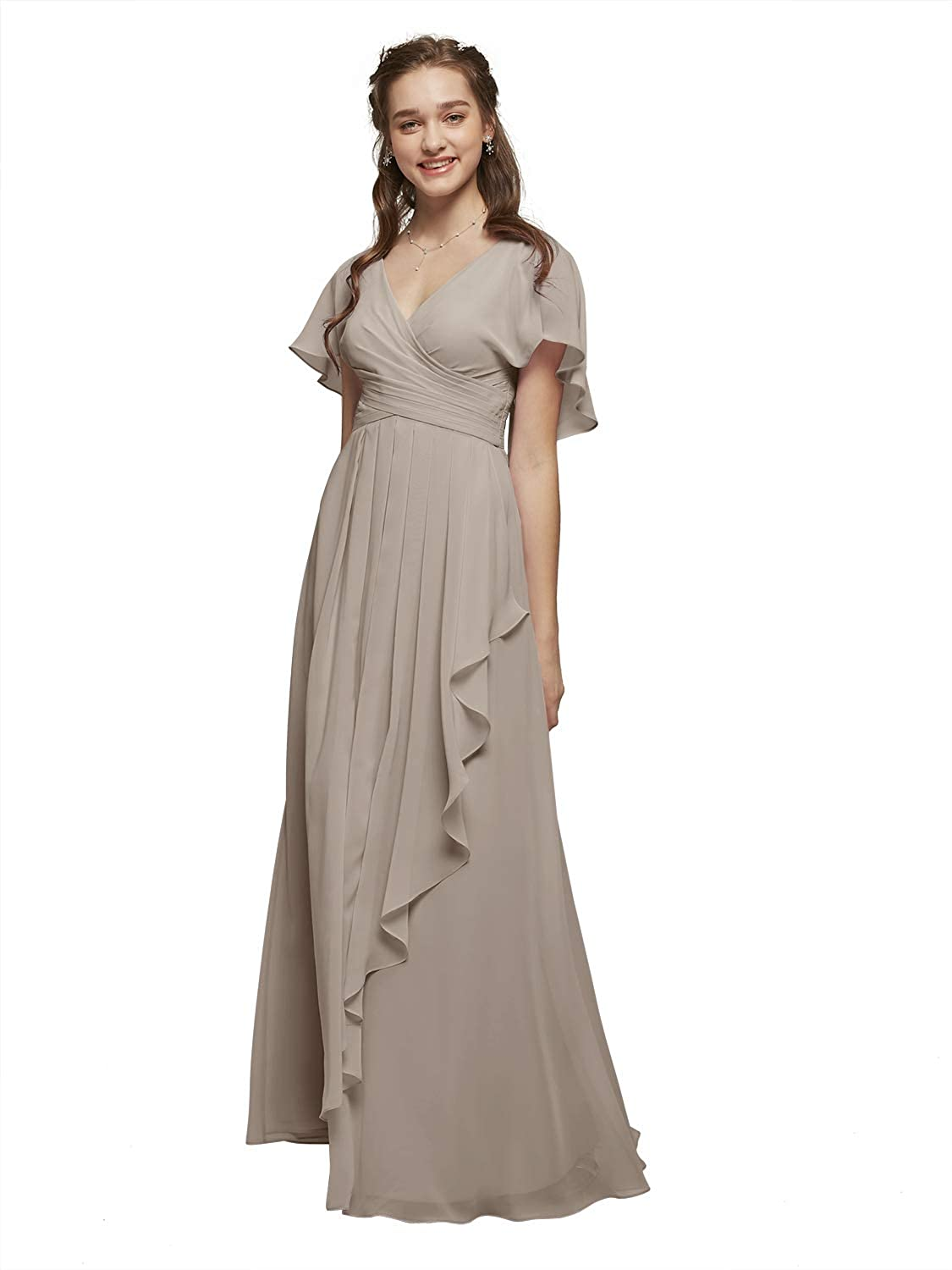 Alicepub Chiffon Bridesmaid Dress Long Formal Evening Prom Gown with Flutter Sleeve