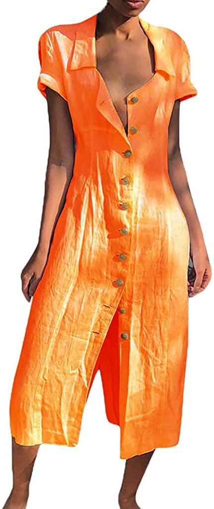 POTO Women's Loose Laple Pockets Buttons Swing T-Shirt Dress Denim Solid Dress