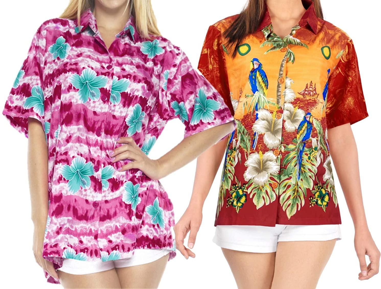 LA LEELA Women's Plus Size Hawaii Aloha Dress Shirt for Casual Wear Work from Home Clothes Women Beach Shirt Blouse Shirt Combo Pack of 2 Size M