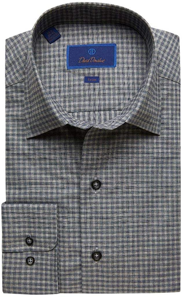David Donahue Trim Fit Long Sleeve Fusion Dress Shirt