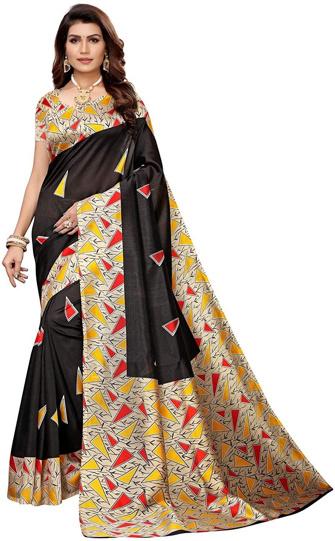 Indian Decor & Attire Women's Poly Silk Saree Attach with Unstitched Blouse Black