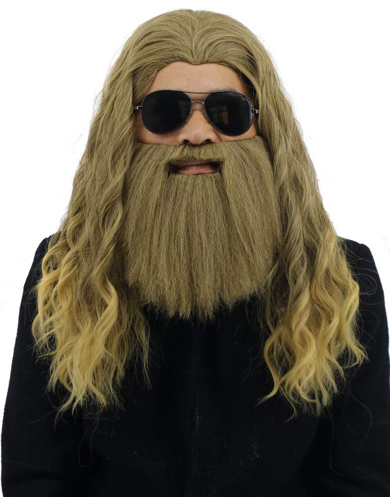 Yuehong Long Blonde Wig Thor Endgame Wig Men Halloween Cosplay Hair Wigs