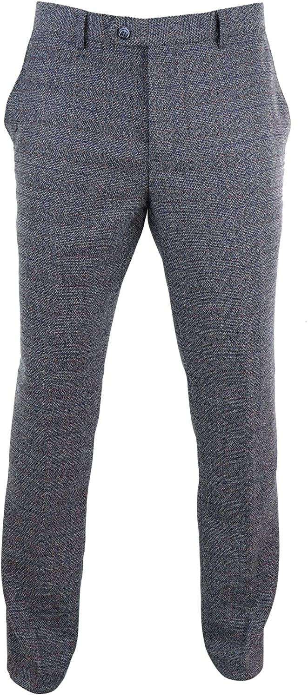 CAVANI Mens Tweed Wool Check Vintage 1920s Classic Tailored Fit Trousers Regular Length Blue-Burnaby 42