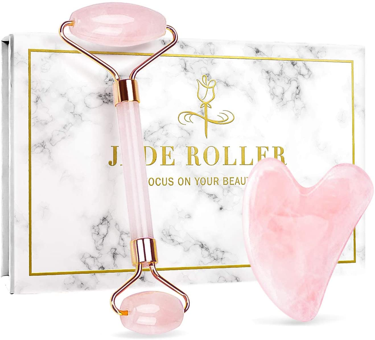 Jade Roller & Gua Sha Set for Beautiful Skin Detox - Face Roller, Facial Body Eyes Neck Massager Tool, Facial Beauty Roller Skin Care Tools - Body Muscle Relaxing and Relieve Fine Lines and Wrinkles