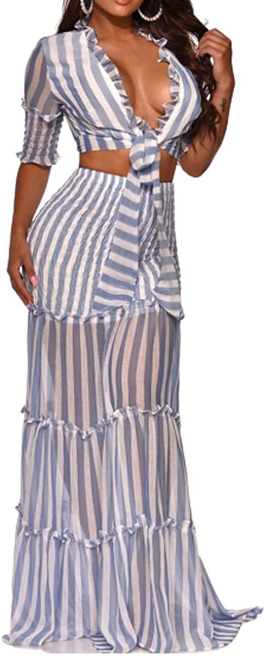 Senggeruida Women Fashion Striped Crop Top Skirt Two-Piece Set