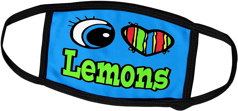 3dRose Dooni Designs Eye Heart I Love Designs - Bright Eye Heart I Love Lemons - Face Masks (fm_106246_2)