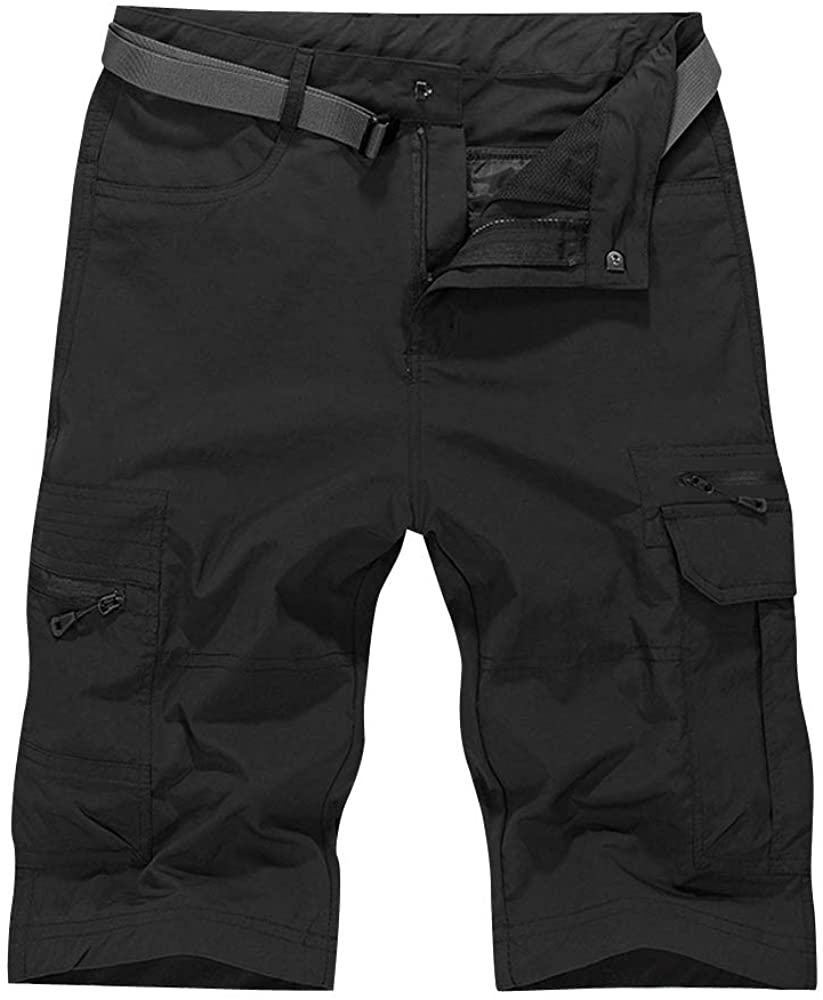 OCHENTA Men's Water-Resistant Quick Dry Cargo Shorts Black Size XL - US 32