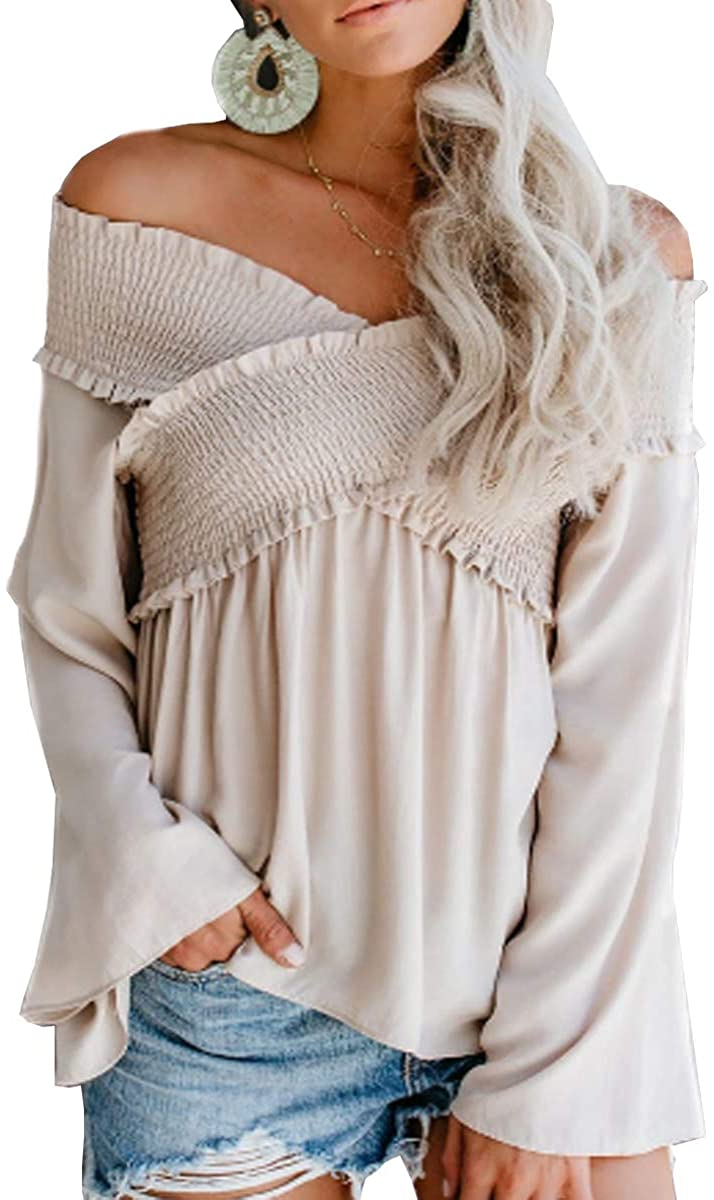 Sofias Choice Womens Off The Shoulder Tops Casual Loose Long Sleeve Babydoll Blouse Shirts