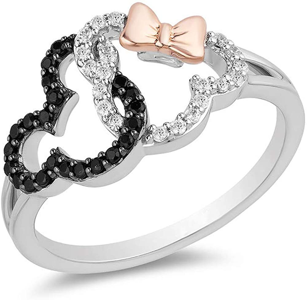 Dividiamonds Interlocking Mickey & Minnie Mouse Ring 1/2 CT. T.W. D/VVS1 Diamond In 925 Sterling Silver & 10K Rose Gold Plated