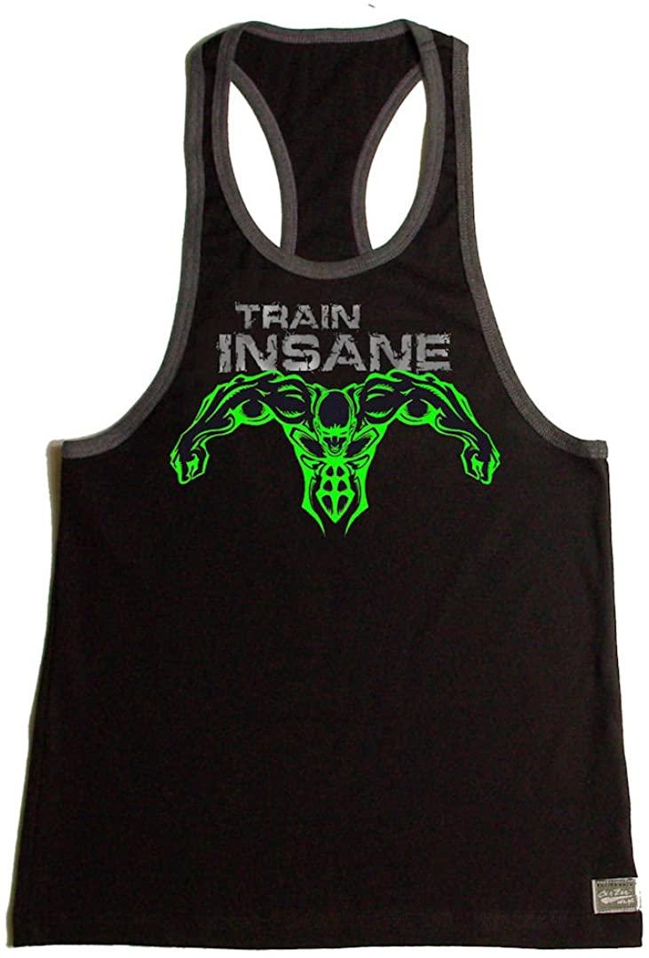 Crazee Wear Black/Grey/Neon Green Train Insane Bodybuilding Tank Top