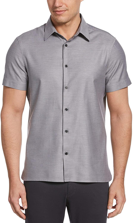 Perry Ellis Men's Big & Tall Solid Textured Short Sleeve Button-Down Shirt