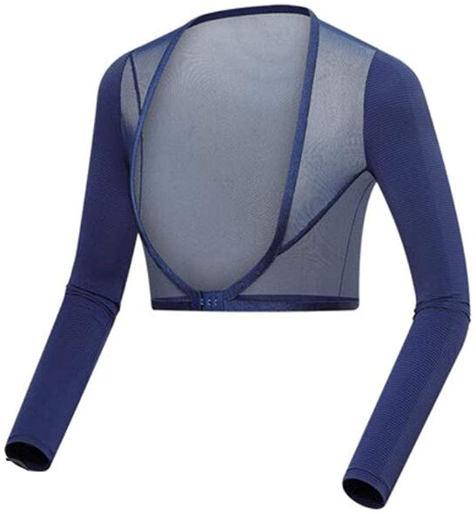 Winter Multi-sports Women's Shawl Outdoor Sun Protection Arm Sleeves Arm Cover Shrug Bra Clasp Shirt Bra(Navy)