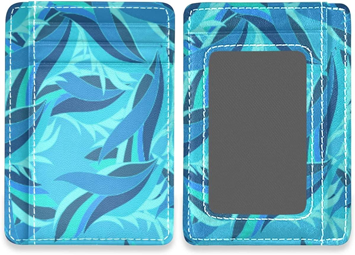 Burgundy Color Butterflies Slim Rfid Credit Card Holders Leather Front Pocket Wallets For Women Men