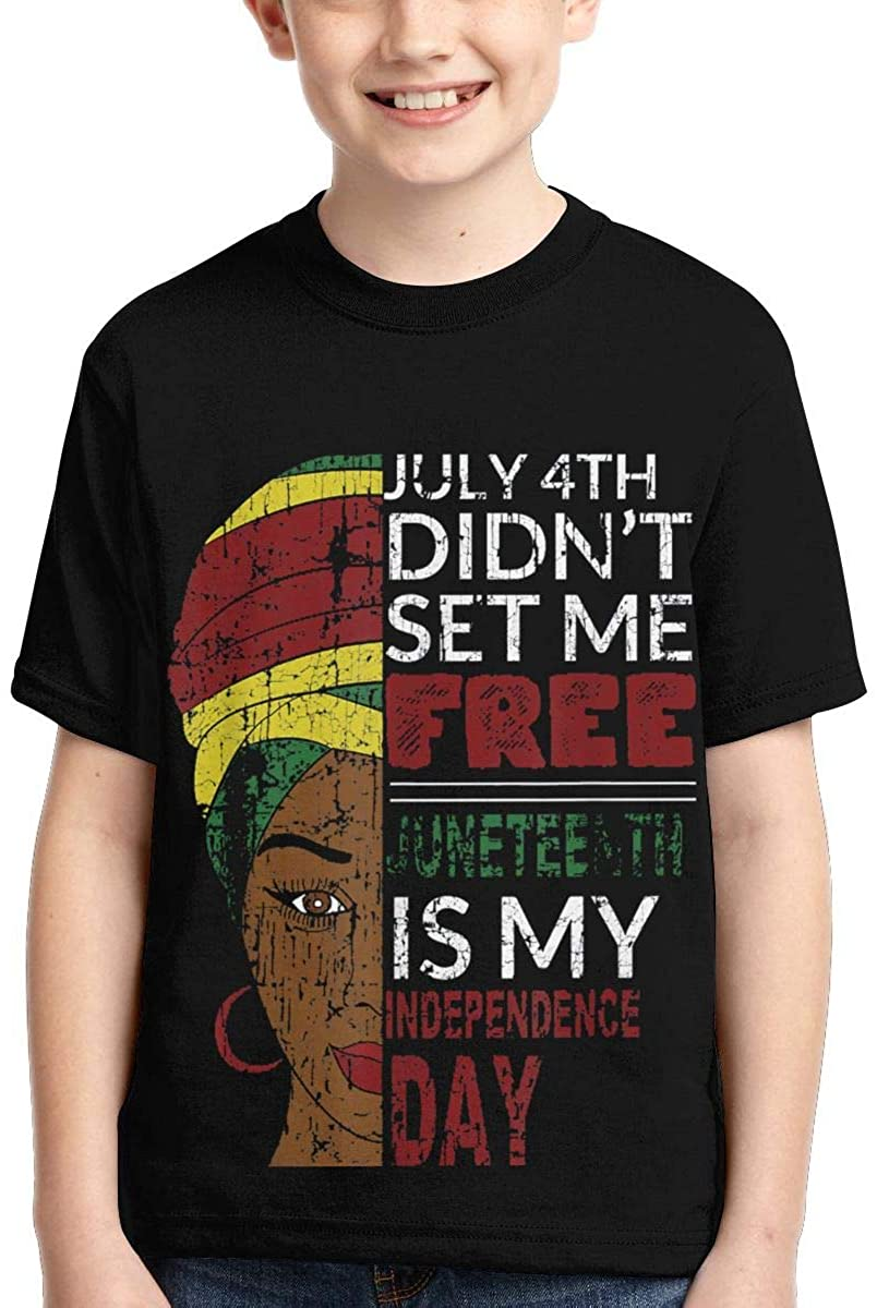 Wujing Boys,Girls,Youth Juneteenth is My Independence Day Not July 4th Tee Shirt