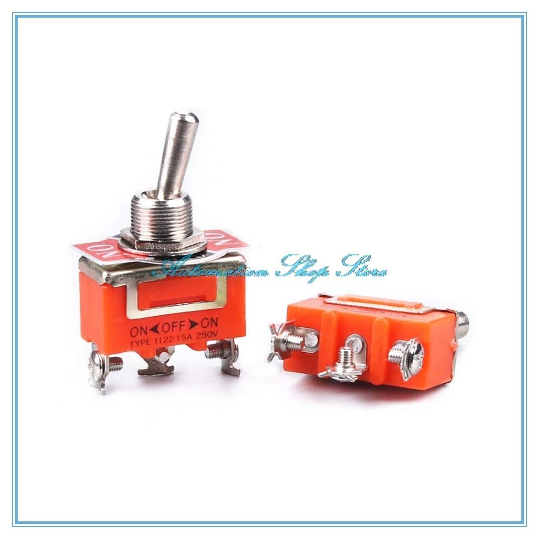 WuLian 1 Pieces Mini 3-Pin ON-Off-ON 3 File Toggle Switch 15A 250V AC Orange