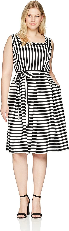 Anne Klein Women's Size Plus Square Neck Cotton Fit & Flare Dress