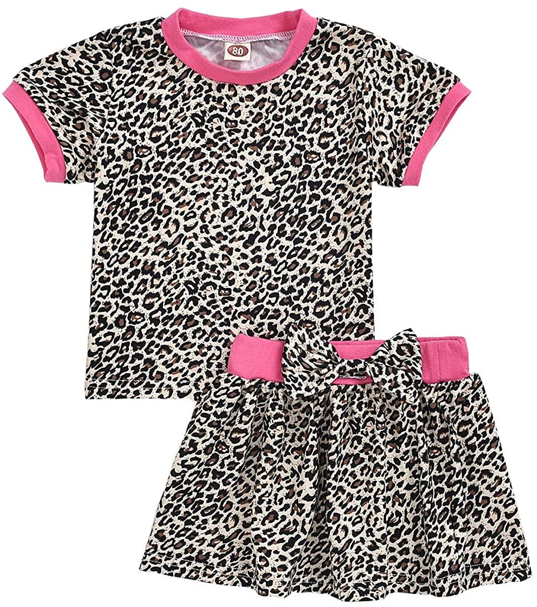 Toddler Baby Girls Summer Skirt Clothes Leopard Short Sleeve Shirt+Bowknot Skirts 2Pcs Outfits Set