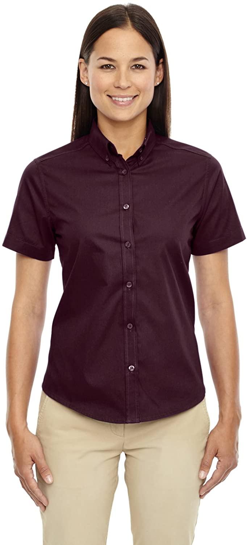 Core 365 Womens Optimum Short-Sleeve Twill Shirt (78194)- Burgundy 060,Large