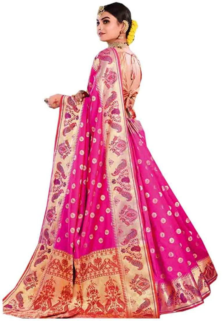 Pink Eid Uljha Party Traditional Woven Silk Indian Saree Sari Blouse Muslim Dress 9876B