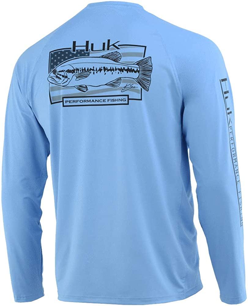 HUK American Large Long Sleeve Shirt, Color: Carolina Blue, Size: XXXL (H1200216-420-XXXL)