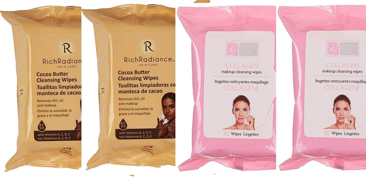 4 Pack Rich Radiance(2 Cocoa Butter 2 Collagen Makeup Cleansing Wipes)30 ct each