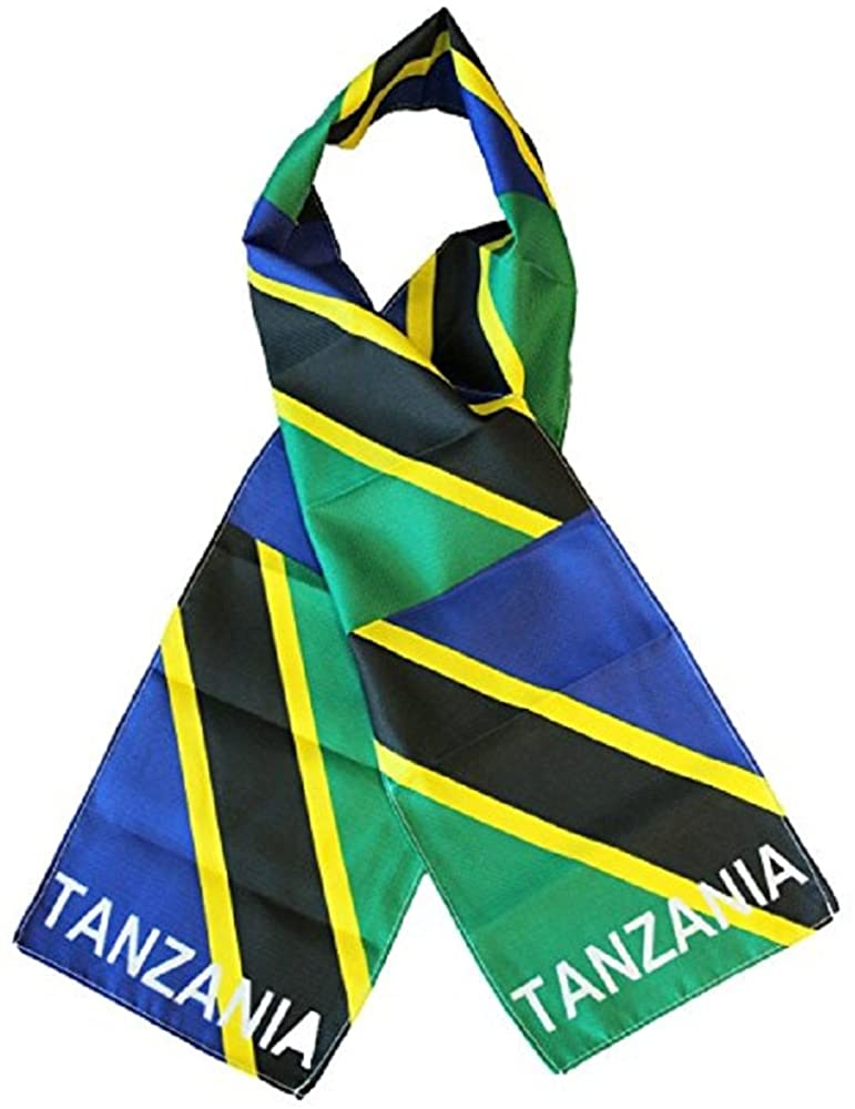 AWS Tanzania Country Lightweight Flag Printed Triple Knit Polyester Style Scarf 8