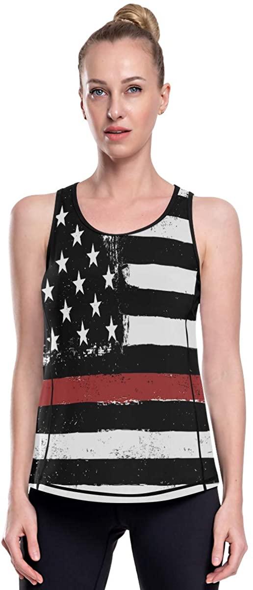 Women's Razorback Athletic Graphic Tank Tops Loose Fit Summer Ladies Long Retro American Flag Vintage USA