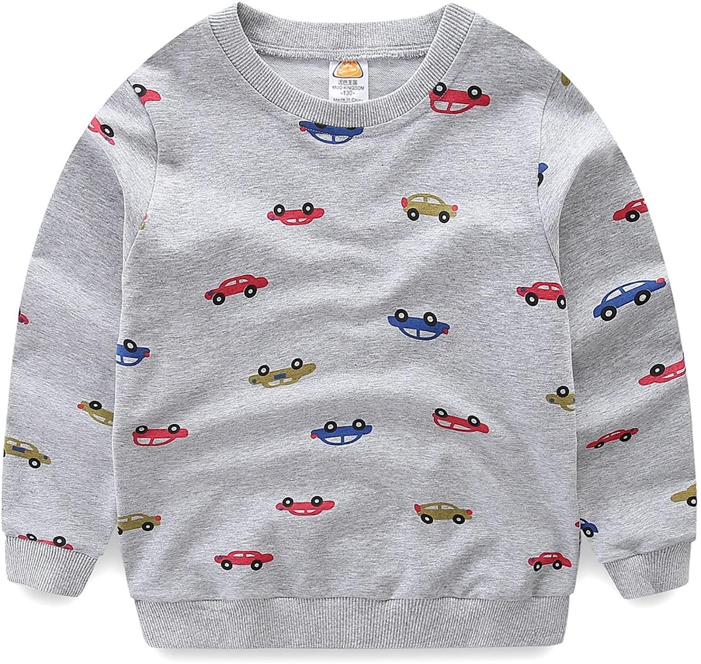 Mud Kingdom Boys Cars Sweatshirts Cute Long Sleeve Tops