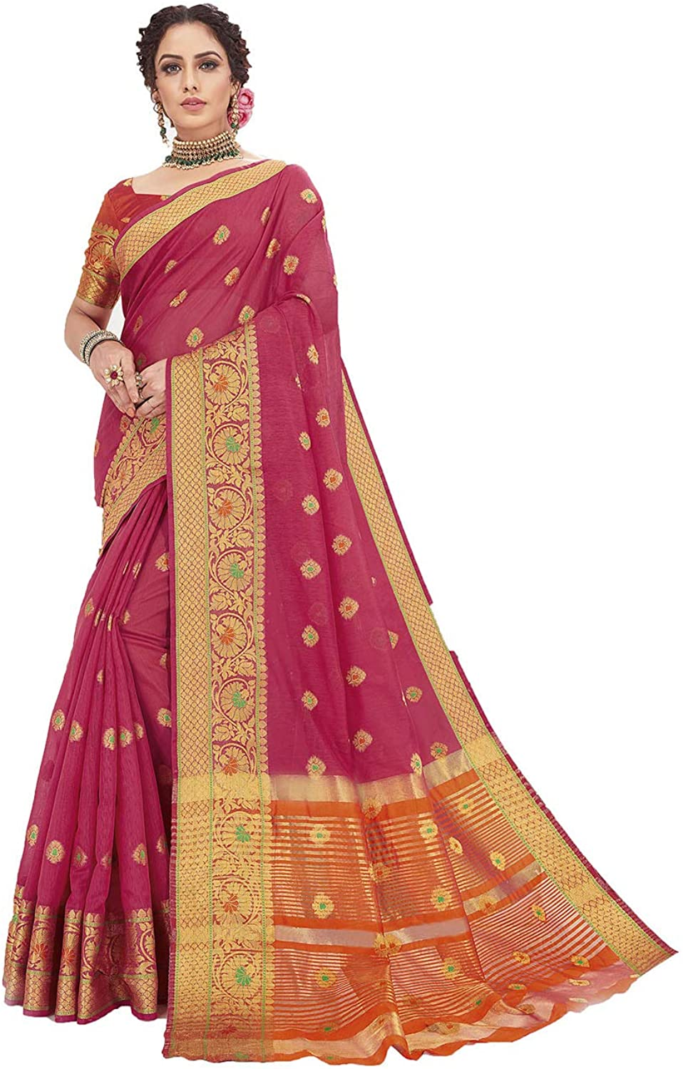 Saree for Women Bollywood Wedding Designer Pink Sari with Unstitched Blouse.