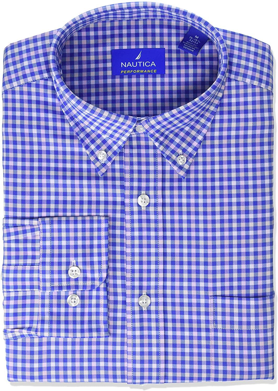 Nautica Men's Non-Iron Tech Classic Fit Bd Collar Solid Dress Shirt