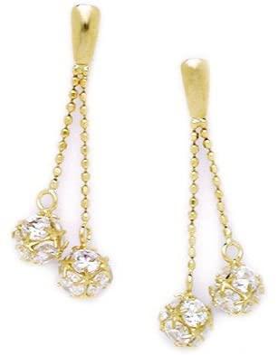 14k Yellow Gold CZ Cubic Zirconia Simulated Diamond Medium 2 Balls Drop Screw back Earrings Measures 28x10mm Jewelry Gifts for Women