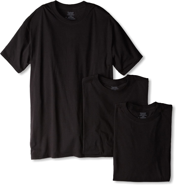 Hanes Ultimate Mens 3-Pack Classics Black Stretch Crew Neck Tee