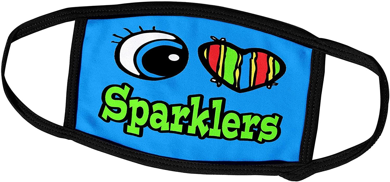 3dRose Dooni Designs Eye Heart I Love Designs - Bright Eye Heart I Love Sparklers - Face Masks (fm_106547_2)