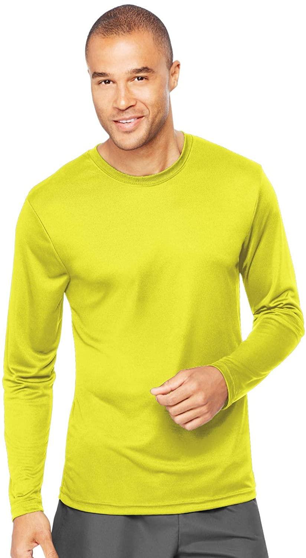 Hanes Men's Long Sleeve Cool Dri T-Shirt UPF 50+, X-Small, 2 Pack ,Safety Green