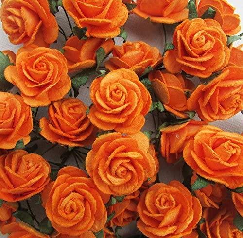 100 pcs Rose 25mm Orange Mulberry Paper flowers handmade craft project cardmaking Floral Valentine