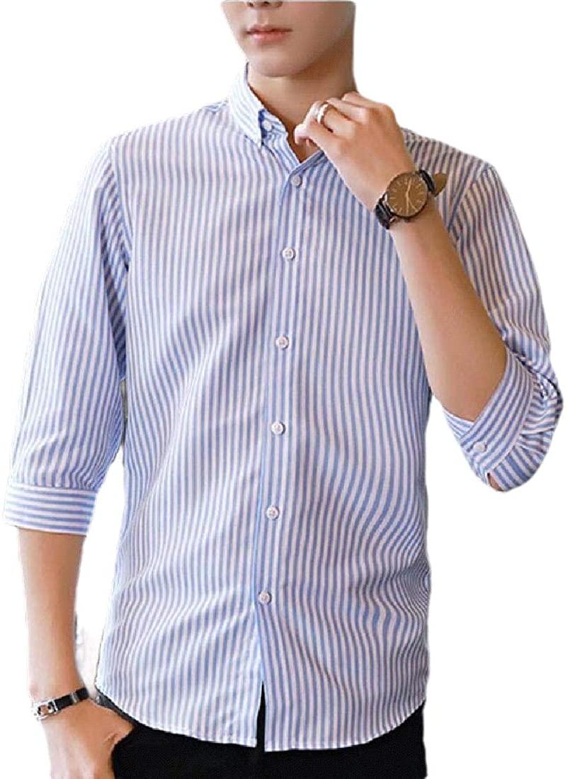 mydeshop Men Regular Fit Casual Business Sleeved Vertical Striped Slim Fit Dress Shirt