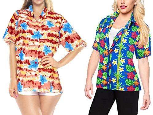 LA LEELA Womens Swim Hawaiian Shirt Office Wear Short Sleeve Shirts Work from Home Clothes Women Beach Shirt Blouse Shirt Combo Pack of 2 Size X - Large
