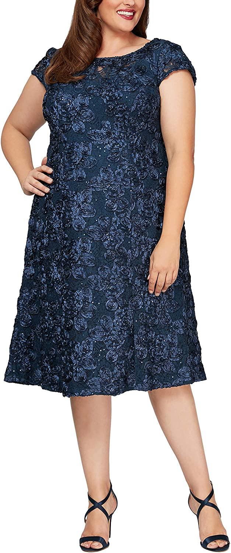 Alex Evenings Womens Plus Size Tea Length Dress with Rosette Detail