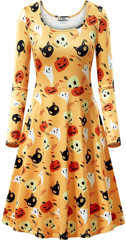 CYiNu Women's Halloween Dress Long Sleeve Vintage Casual Party Dress Halloween Printed Flared Party Dress