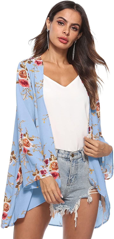 Colorfog Womens Floral Sheer Chiffon Kimono Cardigan Blouse Boho Irregular Long Sleeve Wrap Loose Beach Cover up Tops