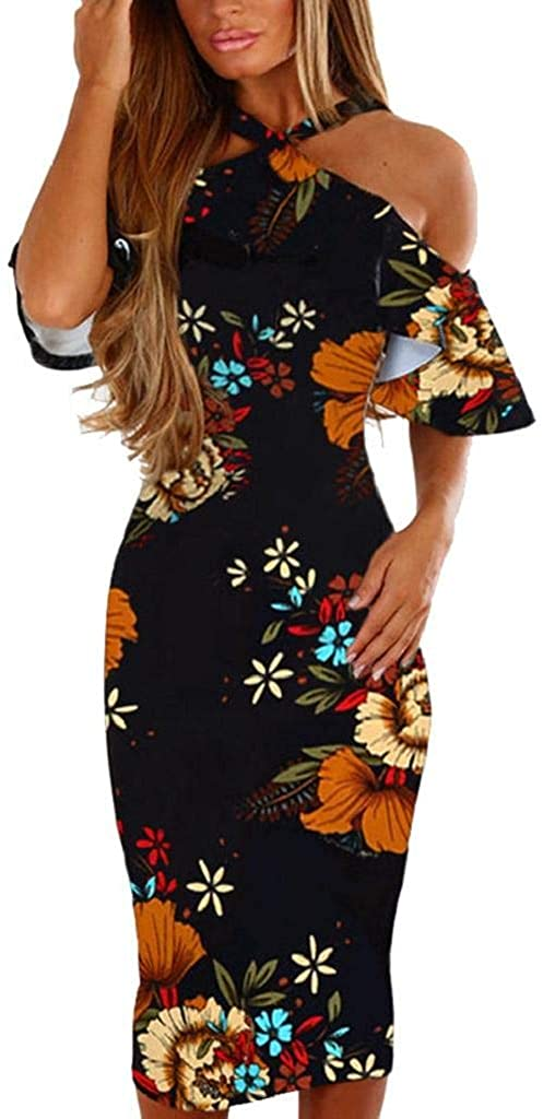 terbklf Women Casual Vintage Floral Print Sexy Off The Shoulder Halter Dress Princess Dress Bell Sleeve Straight Dress
