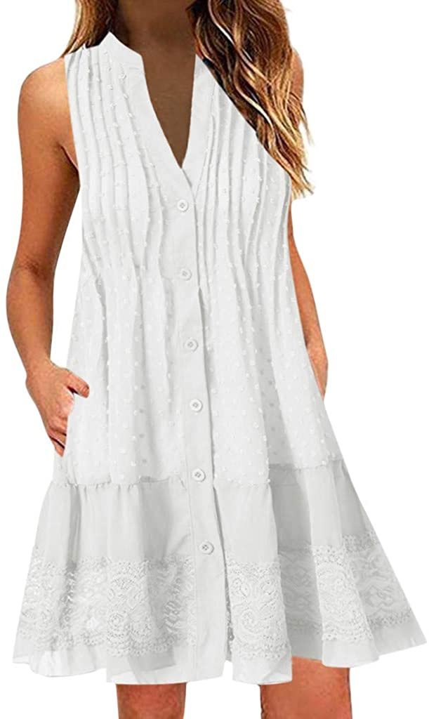 FRana Women Summer Tunic Dress Short Sleeve Crew Neck Cold Shoulder Lace Casual Loose Flowy Swing Shift Dresses