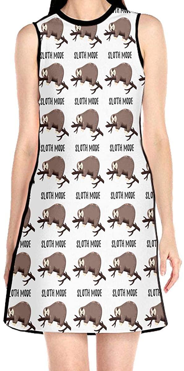 WAYMAY Sloth Mode Dress Sleeveless A-Line Dress Tank Dresses Elegant Dress