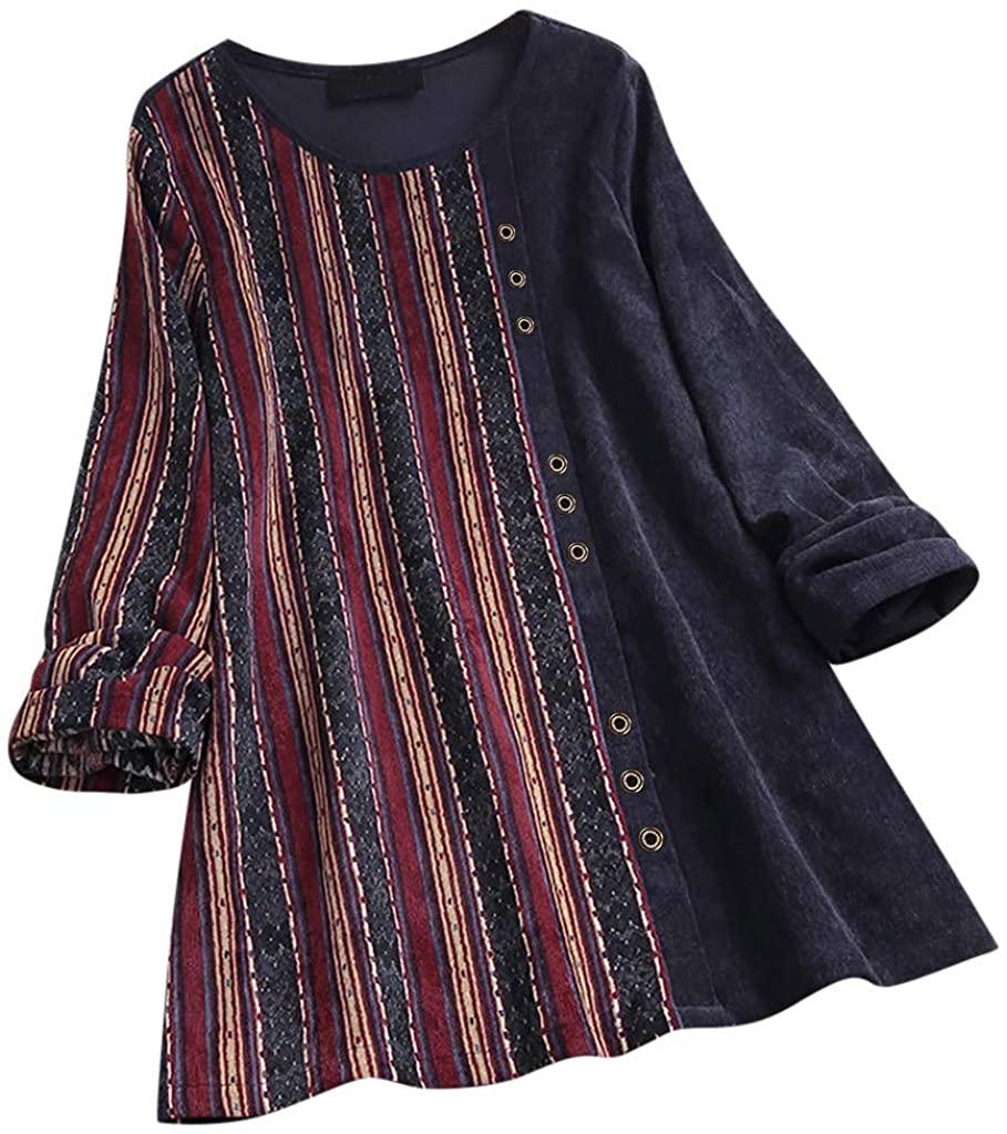 Hotkey Women Corduroy Stripe Print Patchwork Long Sleeve Vintage Top T-Shirt Blouse Loose Tunic Tops Shirts