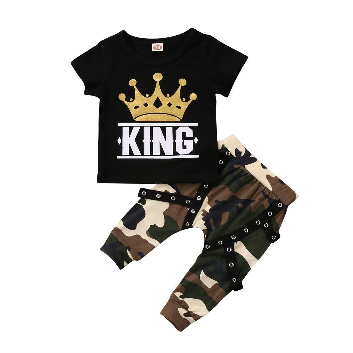 1-5Y Toddler Kid Boy Short Sleeve Crown King Print T-Shirt Baby Bro Camo Long Pants Summer Clothes Outfit Sets 2PCS