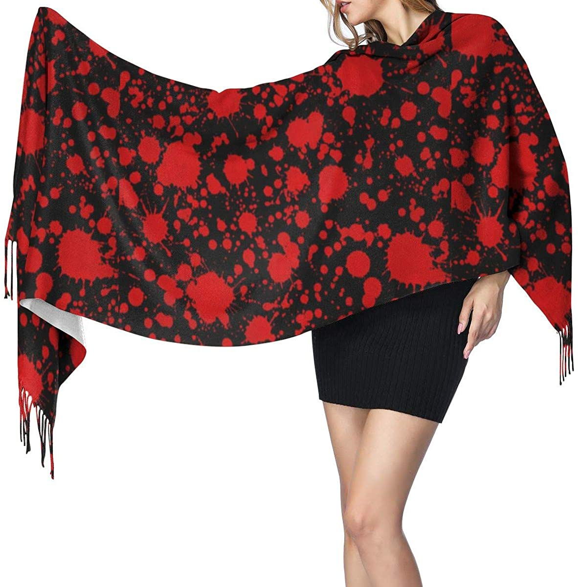 Classic Horror Blood Splatter Black Women's Winter Warm Scarf Fashion Long Large Soft Cashmere Shawl Wrap Scarves